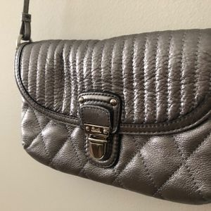 COACH–Quilt Leather Crossbody–Metallic Pewter Gray